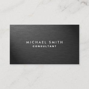 Professional Elegant Modern Black Plain Metal Business Card