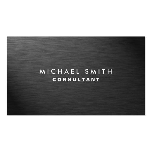 Professional Elegant Modern Black Plain Metal Business Cards