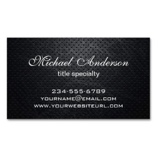 Professional Elegant Modern Black Scratched Metal Magnetic Business Cards