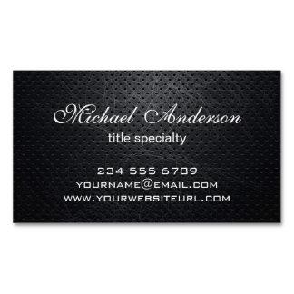 Professional Elegant Modern Black Scratched Metal Magnetic Business Cards