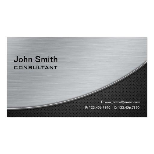 Professional Elegant Modern Computer Repair Silver Business Cards