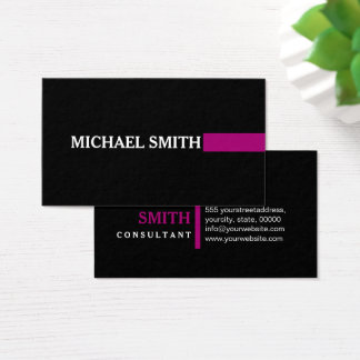 Professional Elegant Modern Flirt Plain Black Business Card