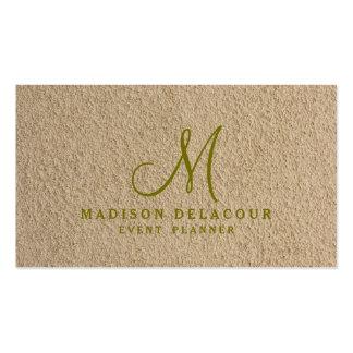 Professional Elegant Modern Monogram Beige Sand Pack Of Standard Business Cards