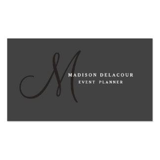 Professional Elegant Modern Monogram Black & White Pack Of Standard Business Cards