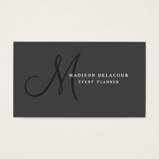 Professional Elegant Modern Monogram Black & White Business Card