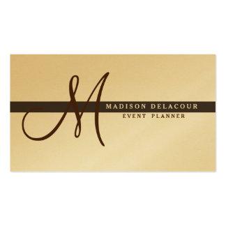 Professional Elegant Modern Monogram Gold & Brown Pack Of Standard Business Cards