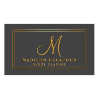 Professional Elegant Modern Monogram Gold & Grey Pack Of Standard Business Cards