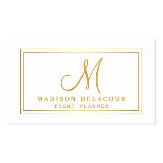 Professional Elegant Modern Monogram Gold & White Pack Of Standard Business Cards