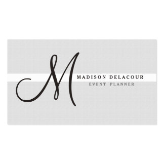 Professional Elegant Modern Monogram Silver Pack Of Standard Business Cards