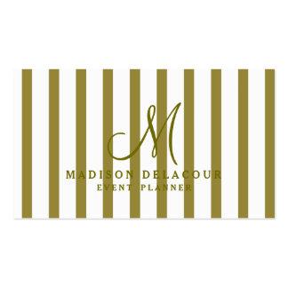 Professional Elegant Modern Monogram Stripes Pack Of Standard Business Cards