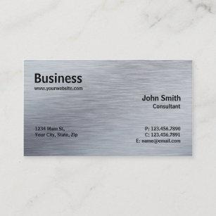 Metallic silver business cards zazzle uk professional elegant modern plain silver metal business card reheart Images