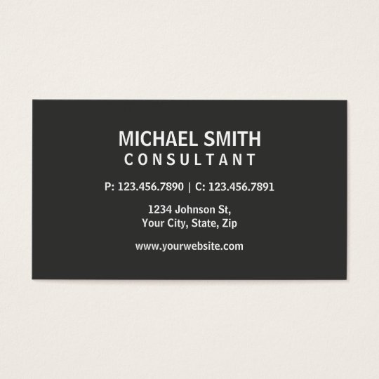 Professional Elegant Modern Plain Simple Grey Business Card