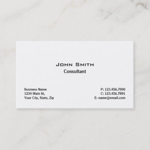 professional elegant modern plain simple white business card