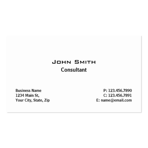 Professional Elegant Modern Plain Simple White Business Card Templates