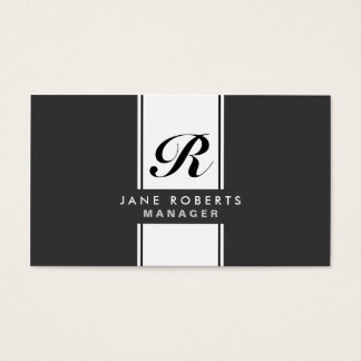 Professional Elegant Monogram Makeup Artist Black Business Card