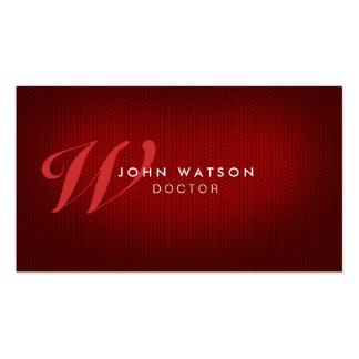 Professional Elegant Monogram Red Business Card