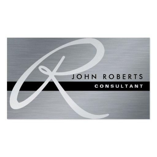 Professional Elegant Monogram Silver Metal Modern Business Card