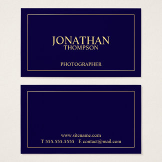 Professional Elegant Navy Blue and Gold Business Card