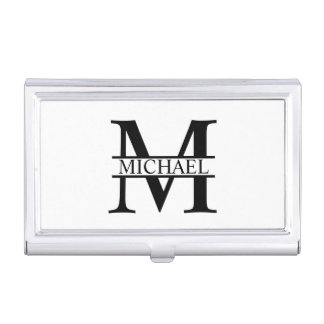 Professional Elegant Personalized Monogram Business Card Holder