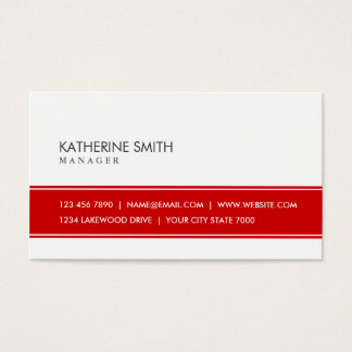 Professional Elegant Plain Simple Red and White Business Card