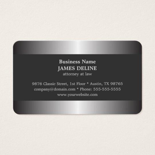 Professional Elegant Silver Metal Attorney Business Card