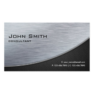 Professional Elegant Silver Modern Metal Black Pack Of Standard Business Cards