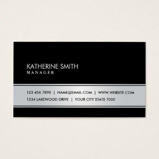 Professional Elegant Simple Plain Black and Silver Business Card