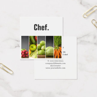 Professional Elegant Vegetables Nutritionist Chef Square Business Card