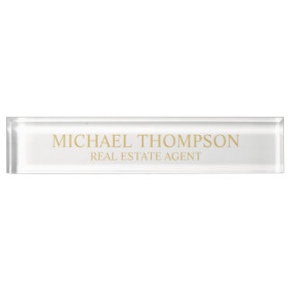 Professional Elegant White and Gold Desk Name Plate