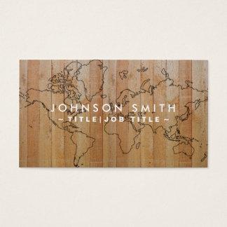 Professional Elegant Wood World Map Business Card