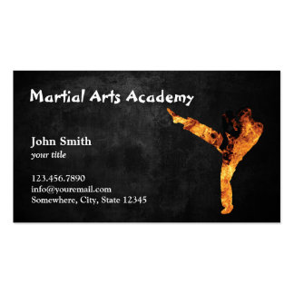 Professional Fire Kick Martial Arts Academy Business Cards