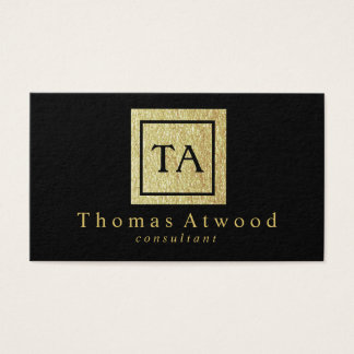 Professional Gold Monogram Business Cards Black