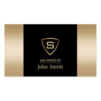 Professional Gold Shield Attorney Business Cards