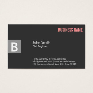 Professional Gray Civil Engineer Business Card