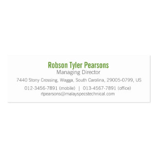 Professional green white skinny business card