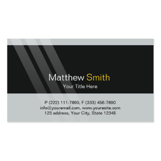 Professional Grey Black Yellow + Elegant Stripes Pack Of Standard Business Cards
