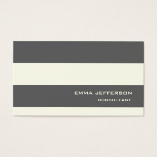 Professional Grey Ivory Stripes Trendy Style Business Card