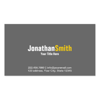 Professional Grey Yellow Plain Business Card