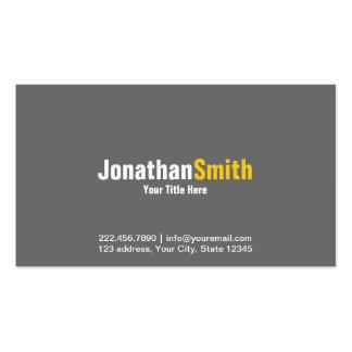 Professional Grey Yellow Plain Business Card