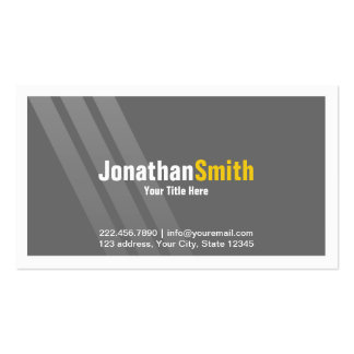 Professional Grey Yellow With Stripes and Frame Pack Of Standard Business Cards