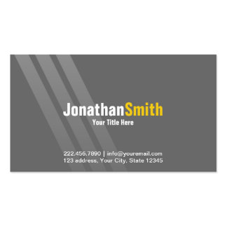 Professional Grey Yellow With Stripes Pack Of Standard Business Cards