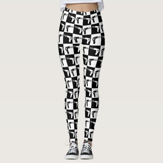 Professional Hair Drier Pattern for Hair Stylists Leggings