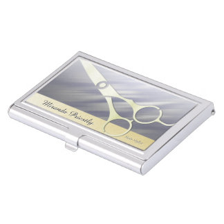Professional Hair Stylist Elegant Gold Scissors Business Card Case