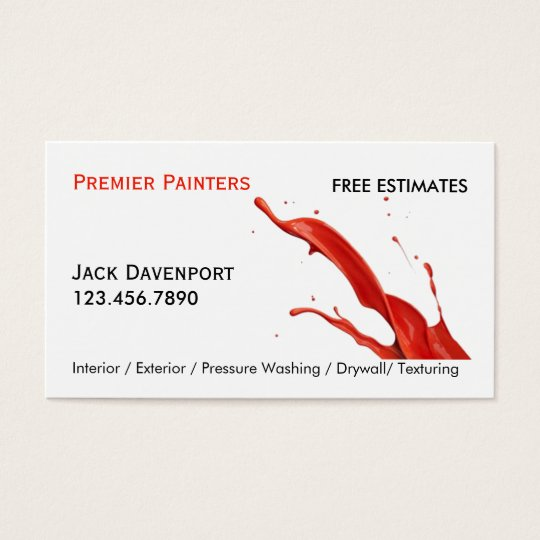 Professional House Painter Red Paint Business Card