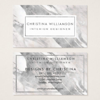 Professional Interior Design Elegant Silver Marble Business Card