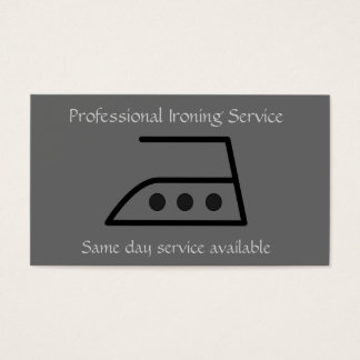 Professional ironing service business card in gray