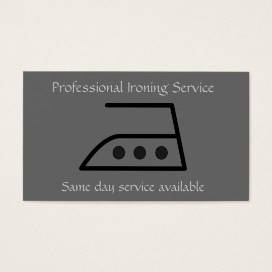 Professional ironing service business card in grey