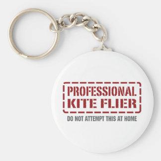 Professional Kite Flier Basic Round Button Key Ring