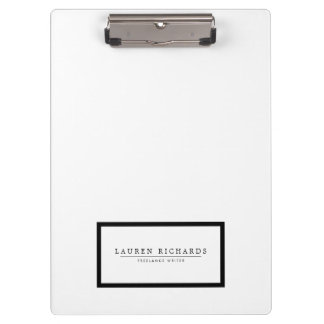 Professional Luxe Black and White Personalized Clipboard