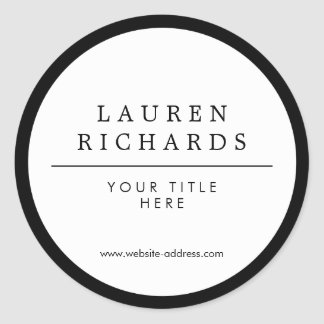 Professional Luxe Black and White Round Sticker